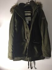 Abercrombie & Fitch Men's XLARGE Outerwear Hood Parka Military, Olive Green