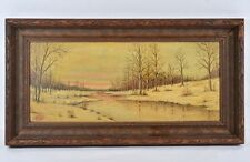 Winter Sunset Scene Antique Oil On Board Signed & Dated *Hale* *1932* Painting