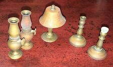Vintage Doll House Miniature Brass Candle Stick Hurricane Lamp Toy Item Mini