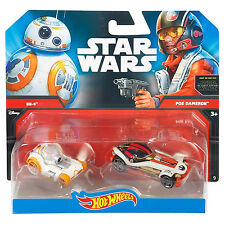 Mattel Hot Wheels Star Wars 1:64 Scale Diecast BB-8 & POE DAMERON Character Cars