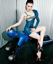 CUSTOM VEX LATEX TRANSPARENT BLUE ASYMMETRICAL DRESS XS RUBBER GUMMI FETISH
