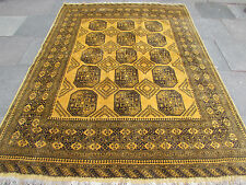 Old Hand Made Traditional Golden Afghan Tribal wool Gold Rug Carpet 279x206cm