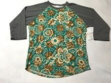 NWT Lularoe XL Randy Teal Turquoise Tan Watercolor Flower Leaf Shirt Gray Sleeve