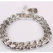 "7"" Chain White Gold Plated Heart Bracelet Birthday Gift Boyfriend Silver No Ston"