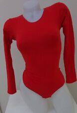 new   red cotton XS/S bodysuit long sleeve stretch top  leotard thong leotard