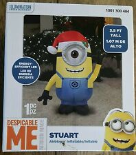 New Minions Stuart Santa Christmas Holiday out door indoor 3-1/2 ft blow up