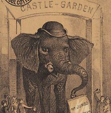 Antique 1882 Jumbo Elephant Circus Castle Garden Clarks Sewing Thread TRADE CARD