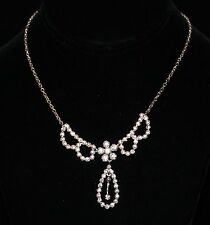 Signed Christian Dior Rhodium Plated Crystal Set Necklace New
