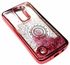 For LG K7 - Rose Gold Flower Pink Stars Glitter Sparkle Liquid Waterfall Case