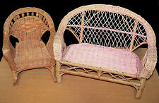 "Nice Wicker Sofa & Rocking Chair - Fits AG or Other 18"" Dolls - VGC"
