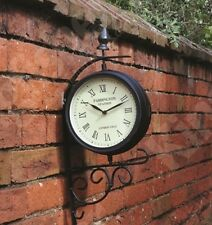 STATION  CLOCK & WALL BRACKET VICTORIAN STYLE ROTATING METAL GARDEN GCLOCK