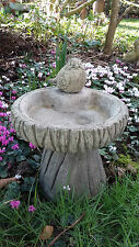 STONE GARDEN ROBIN BIRD BATH LOG DESIGN BIRD FEEDER / BOWL / DISH ORNAMENT