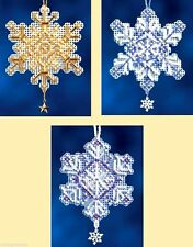 Mill Hill Beads Charmed Cross Stitch Kit ~ SNOW CRYSTALS Set of 3 #16-2303 Sale