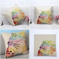Reto Vintage Linen Throw Totoro Pillow Case Home Decorative Cushion Cover Square