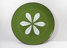 CATHERINEHOLM of NORWAY LOTUS FLOWER OLIVE GREEN & WHITE ENAMEL PLATE 12""