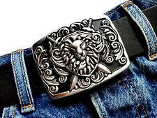 Gürtelschließe Ornament buckle Lion Löwe Wappen silber Wechselschnalle 4cm