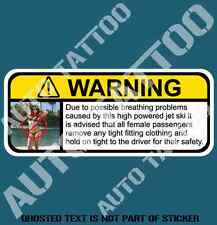 JETSKI JET SKI WARNING DECAL STICKER HUMOUR FUNNY NOVELTY CAR DECAL STICKERS