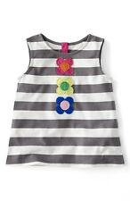 NEW Mini Boden Fab Flower Top - Applique Flower Vest - Grey - Age 7 to 8 years