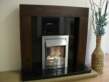 ELECTRIC BROWN BLACK GRANITE SILVER WALL FIRE SURROUND MODERN FIREPLACES SUITE