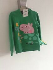 M&S kids NWT Peppe pig George pig green dinosaur hooded sweatshirt sz4-5