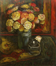 Oil Painting of Still Life Flowers in Vase by Jar of Water on Table 16x20 Canvas