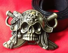 CARRIBEAN PIRATE BLACKBEARD FANCY DRESS SKULL CROSSBONES BUCKLE LEATHER BELT