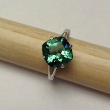 925 Sterling Silver Square Cut Green Amethyst Ring 2.21CT SIZE 7