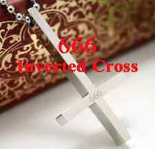 Inverted Cross 666 Devil 316L Stainless Steel Lucifer Satanism Pendant Necklace