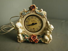 ELECTRIC VINTAGE SHELF CLOCK - CERAMIC W/PPLIED CHERABS & ROSES - USA - 1948