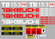 TAKEUCHI TB153FR MINI ESCAVATORE DECALCOMANIA SET