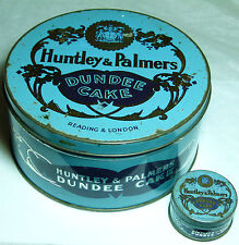 """SUPERB PAIR ANTIQUE HUNTLEY&PALMERS""""DUNDEE CAKE""""LARGE & MINIATURE SAMPLE TINS"""