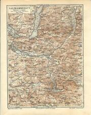 Carta geografica antica SALZKAMMERGUT Austria 1890 Old antique map
