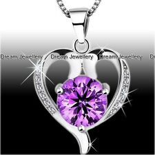 XMAS GIFTS FOR HER - Purple Diamond Heart Necklace Girls Gifts for Girlfriend K1