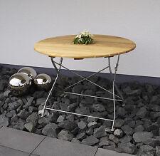 Table ronde pliante salon de jardin 100cm acier plat zingué et bois CAPUCETTE