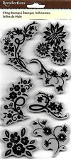 RECOLLECTIONS Cling Rubber Stamps FLORAL SHAPES Flowers Vines