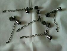 10 x 8 - 9mm END CAPS, LOBSTER CLASP, EXTENDER CHAIN for KUMIHIMO, CORD. BLACK