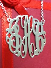 "MONOGRAM INITIAL NECKLACE SOLID STYLE  STERLING SILVER 1.25""*Maid in USA*ny"