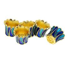 5PCS Gold Plated Filigree Flower Cup Shaped Bead Caps Enamel Cloisonne Beads