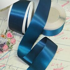 10y SPOOL VTG PEACOCK BLUE SATIN RIBBON TRIM MILLINERY HAT WORK COCARDE ANTIQUE