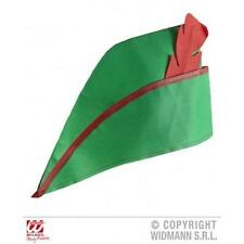 Verde Robin Hood Peter Pan hat with red detalle de plumas Fancy Dress Costume Prop