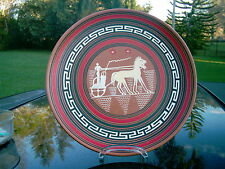 "TERRA COTA 7.75"" PLATE FROM RHODES  GREEK CHARIOT DESIGN  CAN BE HANGED"