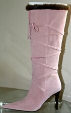 STEVE MADDEN CRISTINA PINK SUEDE FAUX BROWN FUR BOOTS 4 IN HIGH 7 1/2 BOOTS NEW