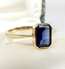 Vintage Art Deco 9ct Yellow Gold Solitaire Emerald Cut Blue Sapphire Ring Size N