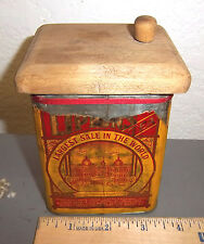 vintage Lipton Tea Paper label tin, great graphics & colors, unusual wood lid