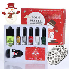 12pcs/set BORN PRETTY Christmas Nail Art Stamping Kit Stamper & Scraper & Polish
