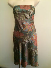 Sz 8 WISH strapless satin cocktail dress with ruching, floral print - as new