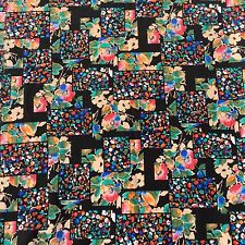 Retro Polyester Dressmaking Fabric Geometric Floral Black Pink Sewing NOS