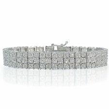 Sterling Silver Finish Gemr Sets 3-Row Tennis Bracelet Lab Diamond in Brass