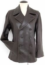 RALPH LAUREN VNTG ULTRA SOFT BROWN LEATHER WINTER PEACOAT NAUTICAL COAT MEDIUM
