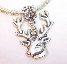 Deer Reindeer Christmas Hunter Animal Buck Dangle Bead for Euro Charm Bracelet